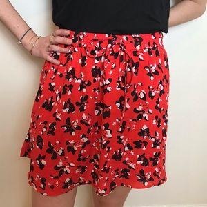 Banana Republic red floral skirt